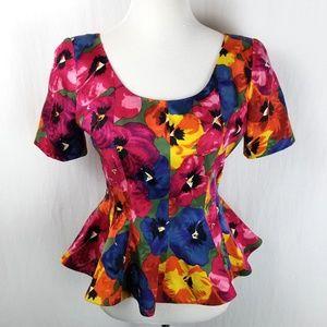 Nipon Petites Silk Peplum Colorful Floral Top